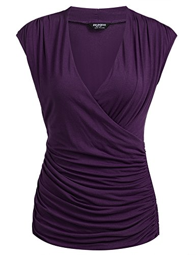 Front Blouse Ruched - Zeagoo Women Cross-front V Neck Ruched Sleeveless Blouse Purple Medium