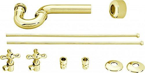 Westbrass Traditional Pedestal Lavatory Kit with Cross Handles, Polished Brass, D1838L-01