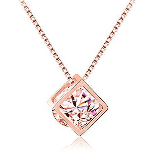 (KOREA-JIAEN Pendant Neckalce14K Gose Gold Plated Base Love Magic Cube Zircon Pendant Necklace (Rose Gold-B))