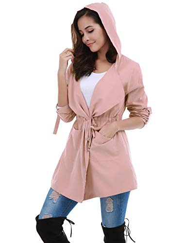 FISOUL Women's Lightweight Long Trench Coat Hooded Windbreaker Jacket with Belts Pink -