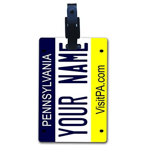 - BleuReign(TM Personalized Custom Name Pennsylvania State License Plate Luggage Tag with Strap