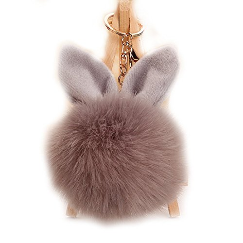 URSFUR Rabbit Fur Ball Keychain Soft Ears Key Chain Ring Hook Phone Bag Pendant