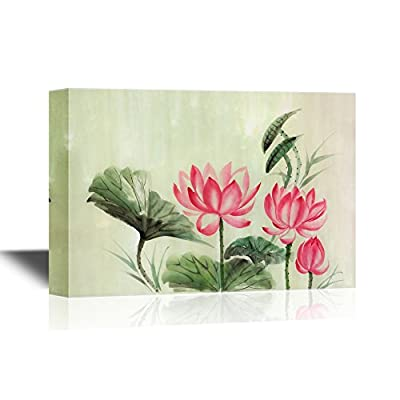 Canvas Wall Art - Tree Lotuses Watercolor Painting, Original Art, Asian Style - Gallery Wrap Modern Home Art | Ready to Hang - 12x18 inches