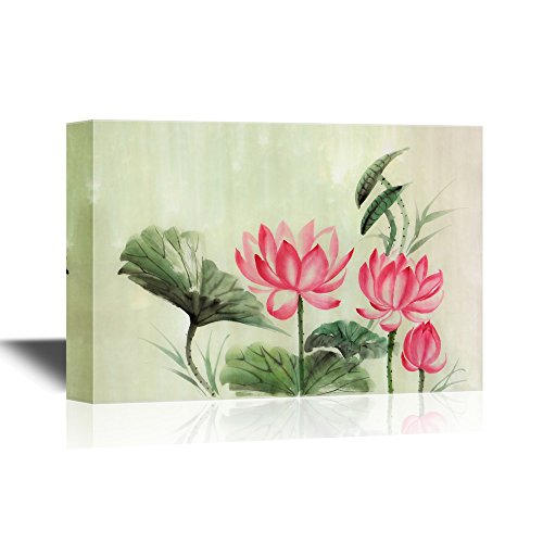 wall26 Canvas Wall Art - Tree Lotuses Watercolor Painting, Original Art, Asian Style - Gallery Wrap Modern Home Decor | Ready to Hang - 24x36 inches