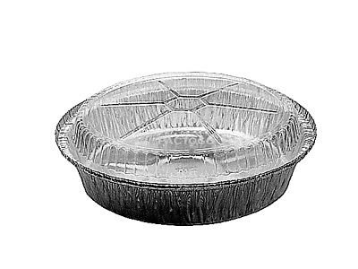 Handi-Foil of America 9'' Round Foil Take-Out/Cake Pan w/Clear Dome Lid 500/Pk - Aluminum Containers (pack of 500)