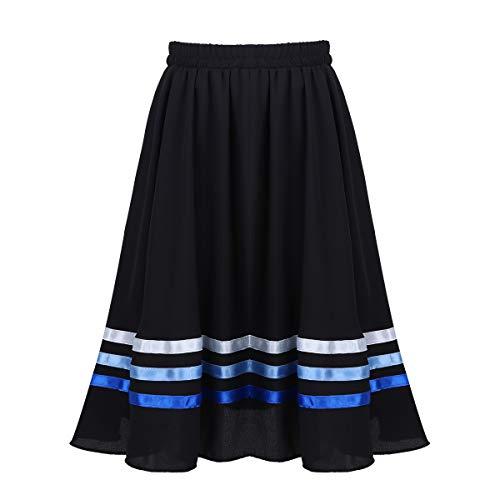 - Alvivi Kids Girls Vintage Pleated Ballet Long Full Circle Dance Character Skirt Dress Performance Costume Black&Blue 7-8