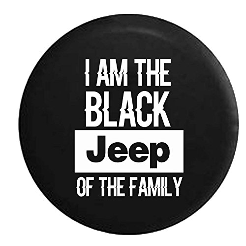 Black Jeep of the Family Spare Tire Cover Vinyl Black 31 in