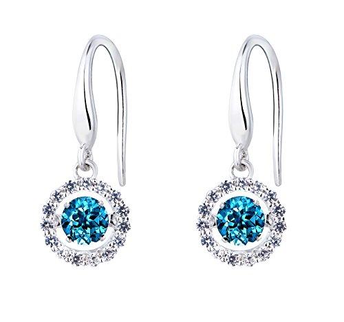 SERAFINA Earrings in Sterling Silver with Dancing London Blue Topaz