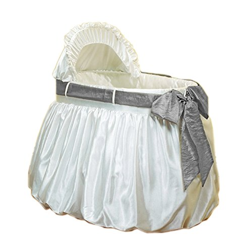 Bubble Shantung (Baby Doll Bedding Shantung Bubble and Crushed Belt Bassinet Set, Grey)