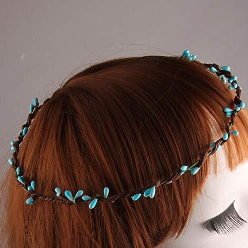 Girl Flower Wreath Stamen Head Wreath for Hair Floral Bridal Hair Accessory Wedding Flower Headpiece 5 Pcs/Lot Sky Blue