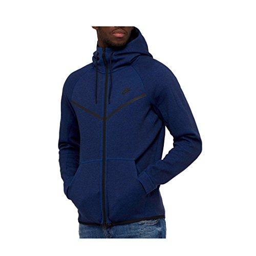 NIKE Mens Sportswear Tech Fleece Windrunner Hooded Sweatshirt Obsidian Blue/Black 805144-451 Size X-Large