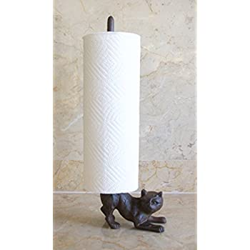 Beau World Accents Cast Iron Cat Paper Towel Or Toilet Paper Holder