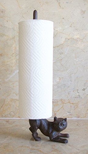 Cat Towel Holder - World-Accents Cast Iron Cat Paper Towel or Toilet Paper Holder