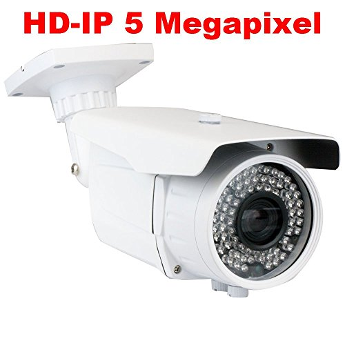 GW Security 5 Megapixel HD 1920P High Resolution Network PoE 1080P Security Bullet IP Camera with 6-22mm Varifocal Zoom Len and 72Pcs IR LED up to 196FT IR Distance