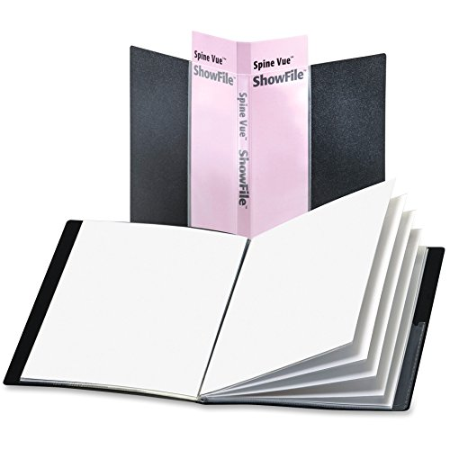 Cardinal SpineVue ShowFile Presentation Book - Letter - 8.50quot; Width x 11quot; Length Sheet Size - 48 Sheet Capacity - 24 Pockets - Polypropylene - Black - 1 Each by Cardinal
