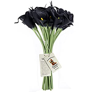 Luyue Calla Lily Bridal Wedding Bouquet Head Lataex Real Touch Flower Bouquets Pack of 20 (Black) 3