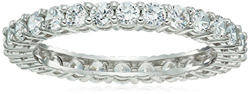 Platinum Plated Sterling Silver Round Cubic Zirconia Eternity Band Ring (2.5mm), Size 5