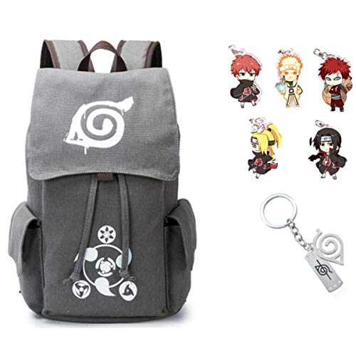 Traveloxicity Gear Naruto Backpack Hidden Leaf Village symbol for Men Kids with Free Naruto Keychain anime Gift Bundle (Naruto Symbol Keychain)