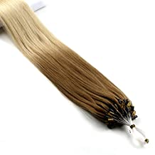 Vlasy 5A 20inch 25g Micro Ring Hair Extensions Human Hair Extensions Straight Ombre Two Tone Easy Loop Hair (T27/60#)