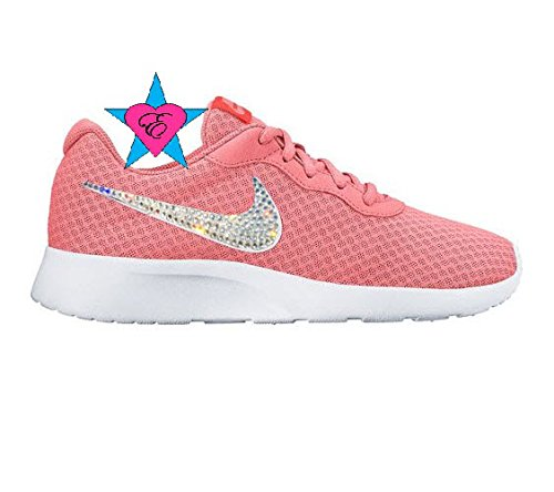 Lava Glow Total Crimson Women Glitter Sneakers Bling Nike Tanjun Shoes by Eshays