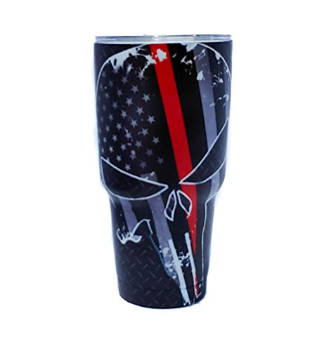 - Txdeals4u 30 oz Stainless Steel Vacuum Insulated Tumbler with Lid - Double Wall Travel Mug Water Coffee Cup for Ice Drink & Hot Beverage, Punisher Skull w/free Paracord Keychain (Thin Red Line)