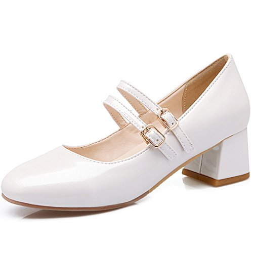 YE Women's Ladies Mid Block Heel Clasicc Mary Jane Office Samart Work Strap Court Shoes Size 2-8 White k6Qwa6Da