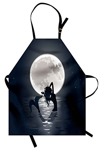 (Ambesonne Underwater Apron, Mermaid Singing at Night Silhouette Full Moon Rays Mythical Ornament Art Print, Unisex Kitchen Bib Apron with Adjustable Neck for Cooking Baking Gardening, Black Grey )