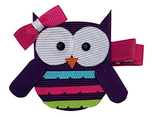 Bows for Belles Owl Hair Bow Ribbon Sculpture (Purple) Made in the USA ()