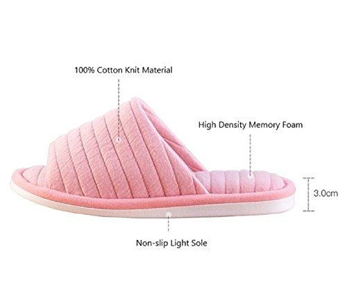 Slip Toe All Gray Memory Men Non for Slide Slippers Light Cotton Open Slip Comfort Women On Seasons House Office Shoes TQGOLD Home Foam RBdxwUU