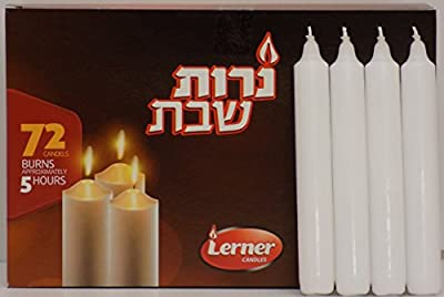 European Drippless Over Dipped Shabbat Candles Taper Candles Aprox 5 Hour Box of 72 Pc.