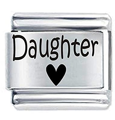 168636652 Daisy Charm Branded Daughter Heart ETCHED Italian Charm - Fits Nomination  Classic charms & Bracelets: Amazon.co.uk: Jewellery