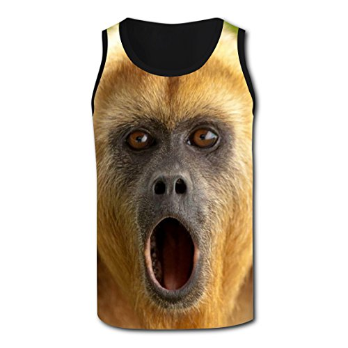 BYTimz Surprised Baboon Monkey T-shirts 3D Graphic Round Tank Tops for Men