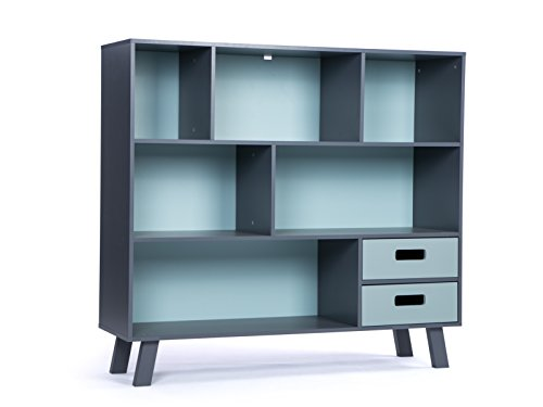 LUCKUP Kids Furniture Children Wood 3-Tier Tall sturdy and adorable Shelf Bookcase with Drawer, Deep Blue