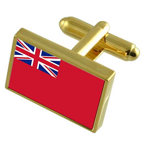 Red Ensign Militairy England Gold-tone Flag Cufflinks Engraved Box