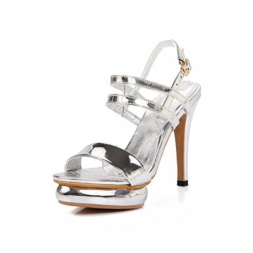 Women's Metal Toe Solid Patent High Sandals Leather Silver Heels Open AgooLar TSqR7nTd