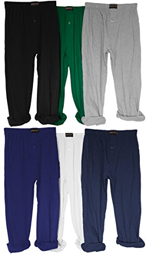 Andrew Scott Boy's 3 Pack Jersey Knit Soft & Light Active Yoga/Beach Pants (Large, 6 Pack - Black Navy White Royal Hunter Grey) ()