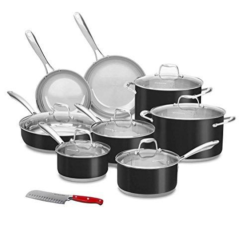 KitchenAid 14 Pc Onyx Black Stainless Steel Cookware Set, Induction Capable, Bonus 4.5