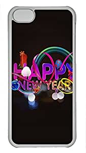 Shell Case for iphone 5C with Happy New Year DIY Fashion PC Transparent Hard Skin Case for iphone 5C
