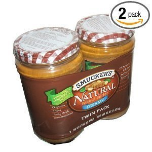 Smuckers Natural Creamy Peanut Butter Non Hydrogenated Healthy Snack 26 Ounce Jars (Pack of 2) by Smucker's