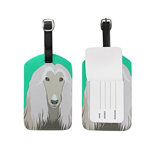 My Daily Afghan Hound Dog Luggage Tag PU Leather Bag Tag Travel Suitcases ID Identifier Baggage Label