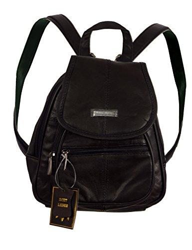 Piotrstrade - Bolso mochila  de napa para mujer negro negro