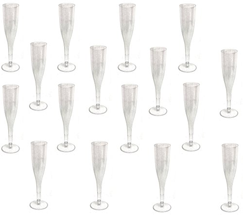 Silver Glitter Plastic Classicware Glass Like Champagne Wedding Parties Toasting Flutes (60 Pack) (Toasting Flutes Plastic)
