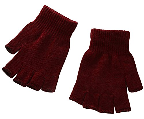 X&F Boys' and Girls' Solid Knitted Half Finger Mittens Typing Gloves, Small, Wine Red