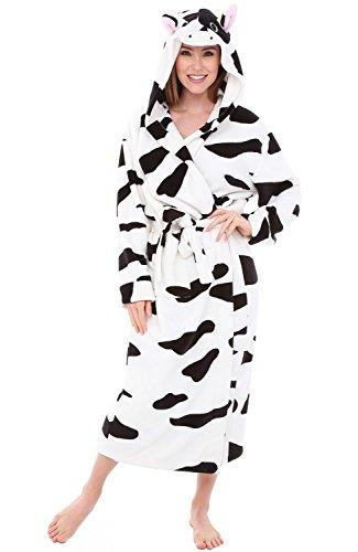 Alexander Del Rossa Womens Fleece Robe, Long Hooded Bathrobe, Small Medium Black and White Cow (A0116COWMD)