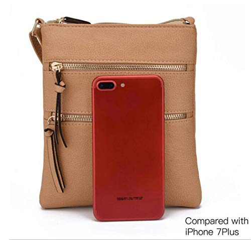 FairyBridal Triple Zipper Mutil-Pocket Leather Messenger Bag for Women,Crossbody Bag 5 Colors Satchel Purse (khaki(pu leather)) by FairyBridal (Image #5)