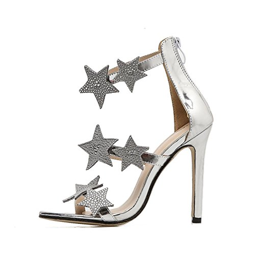 Tacón Zapatos EUR Negro imitación Sandalias Fiesta UK Dedo Estrella furtivamente Club Tobillo 5 del Mirar L XIE 39 6 de nocturno Mujer Diamante 6 Plata pie Correa Estilete Vestir Alto wnSEEXq6Y