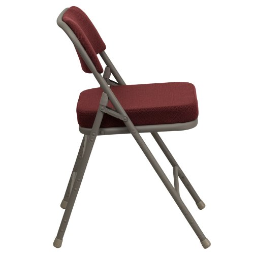 Flash Furniture HERCULES Series Premium Curved Triple Braced & Double Hinged Burgundy Fabric Metal Folding Chair by Flash Furniture
