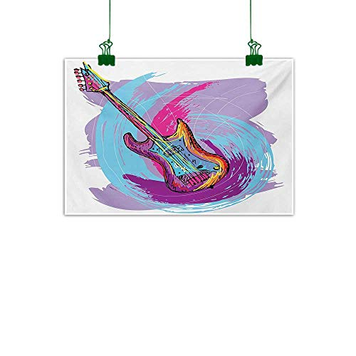 (Unpremoon Grunge,Wall Artwork Hand Drawn Electric Guitar with Motley Curved Grunge Effects Modern Music Icon Canvas Art for Wall Pink Purple Blue W 32