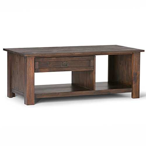 Simpli Home AXCMON-01 Monroe Solid Acacia Wood 48 inch wide Rustic Rectangular Coffee Table in Distressed Charcoal Brown