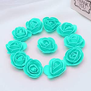 KODORIA 100pcs Artificial Foam Rose Head Artificial Rose Flower for DIY Bouquets Wedding Party Home Decoration - Tiffany Blue 3
